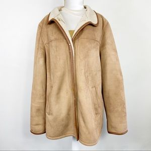 Talbots Faux Suede Jacket Coat Shearling Tan L
